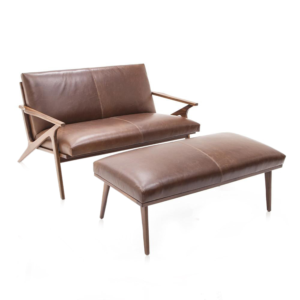 Cavett Brown Leather Loveseat