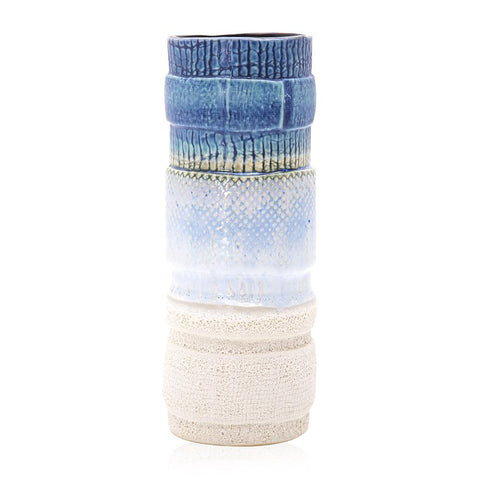 Blue BFA Ceramic Dip Dyed Vase