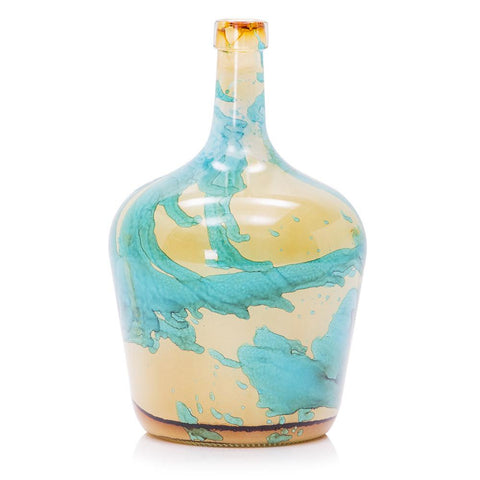 Blue Aqua Yellow BFA Glass Bottleneck Vase
