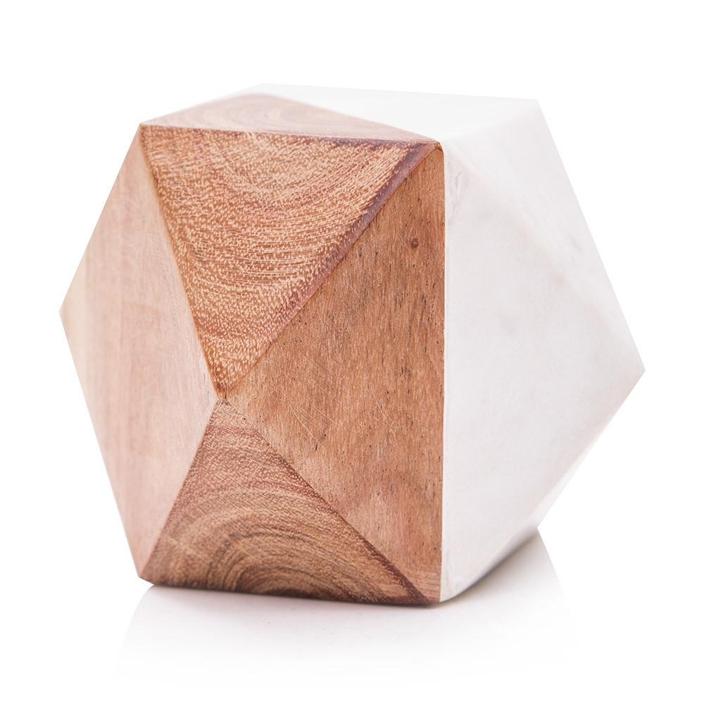 White BFA Marble and Wood Geometric Paperweight