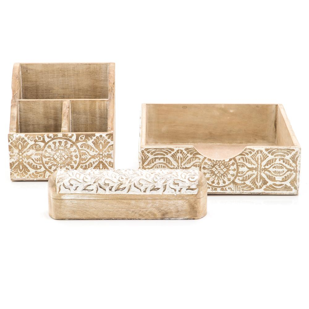 Embossed Wood White Boxset