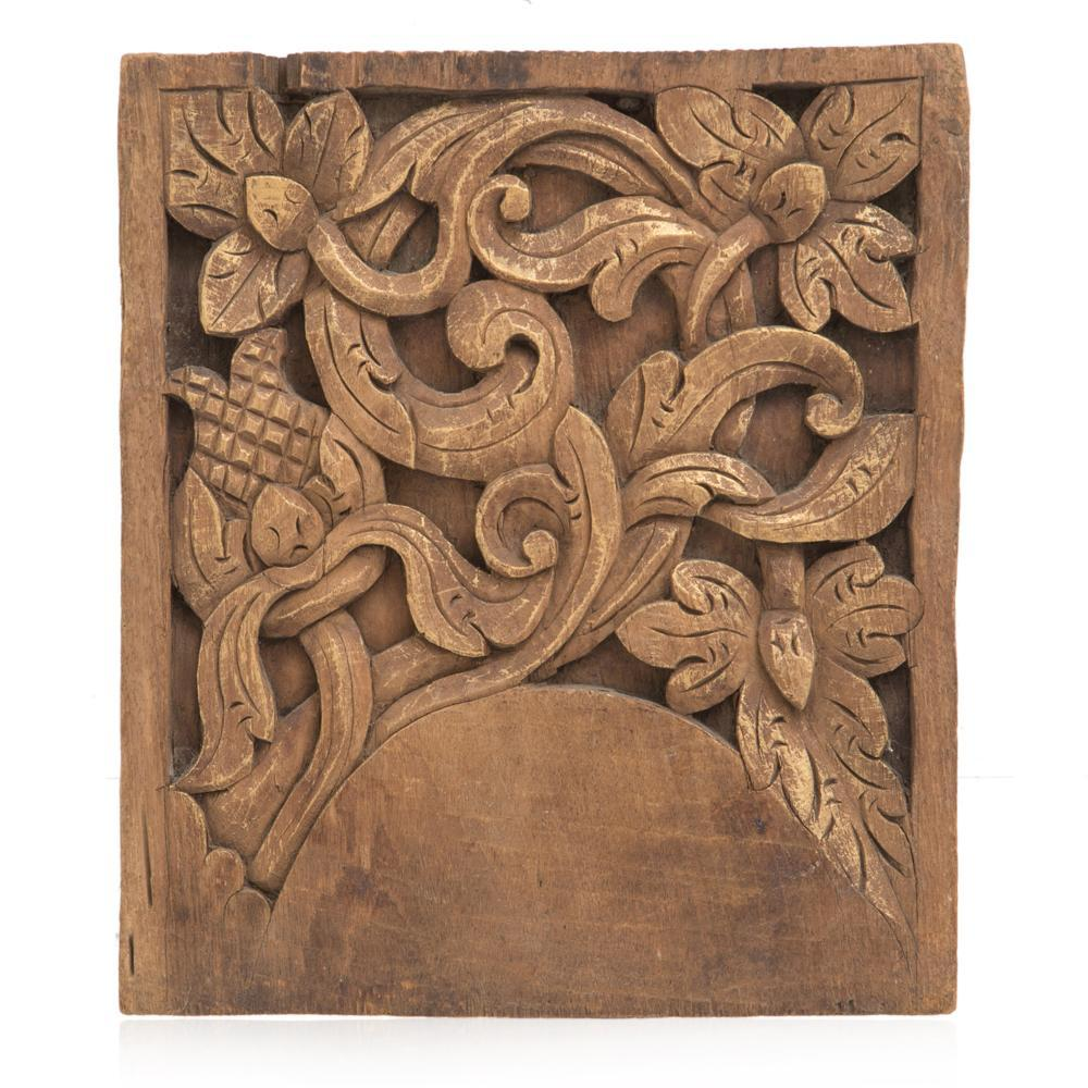 Wood Carved Floral Panel