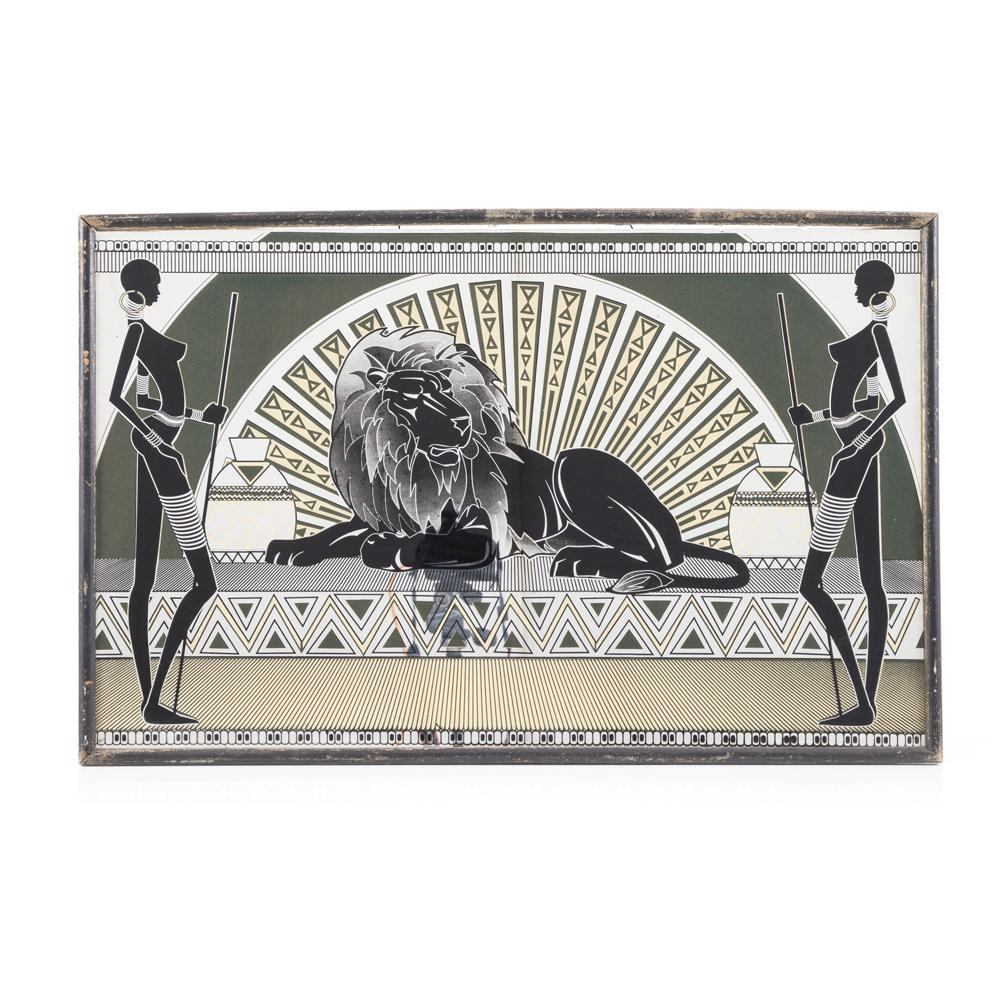 African Women and Lion Deco Mirror Art