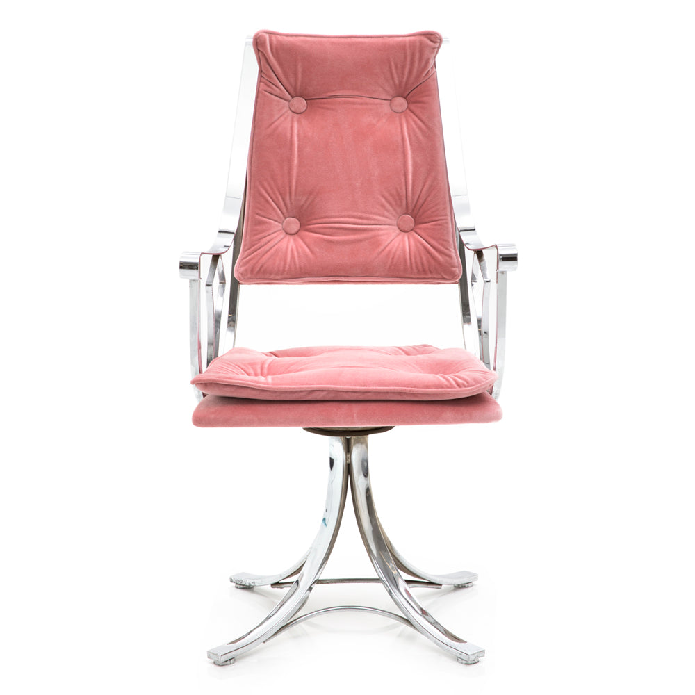 Chrome Pink Velvet Chair