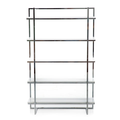 Silver Chrome White Modern Bookshelf
