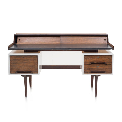 Brown and White Mid Century Desk