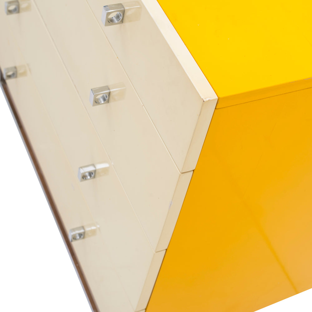 Yellow Credenza with Chrome Base