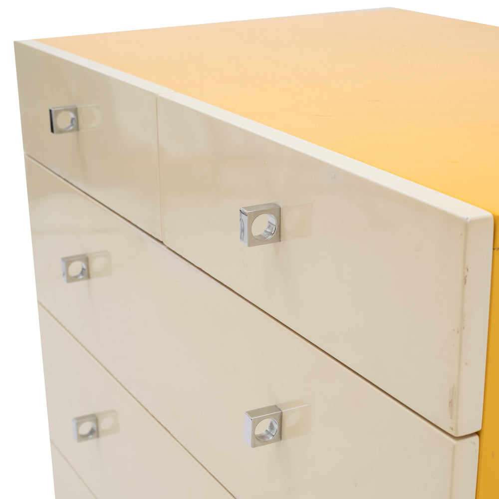 Cream and Yellow 5-Drawer Dresser with Chrome Base