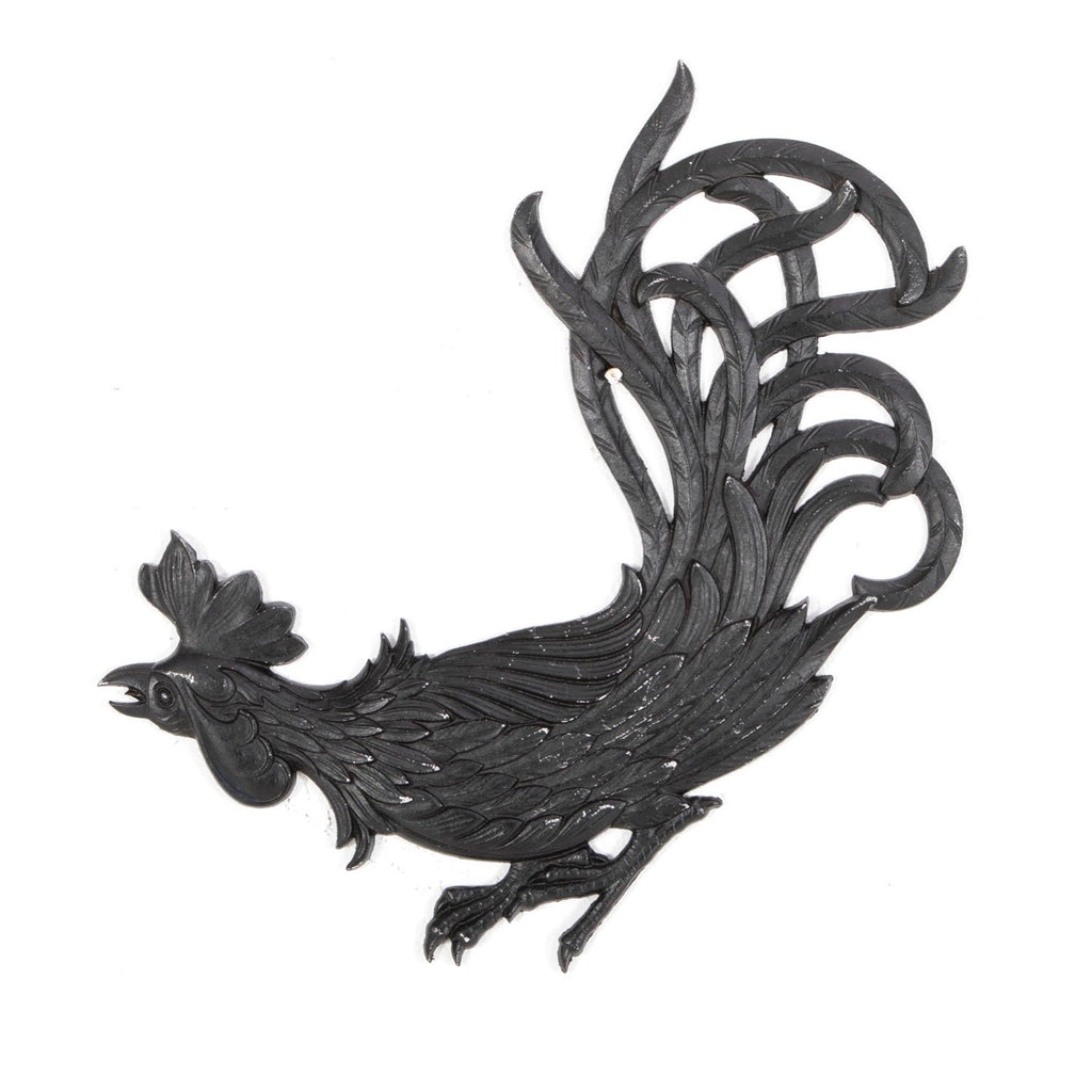 Black Painted Rooster Wall Art