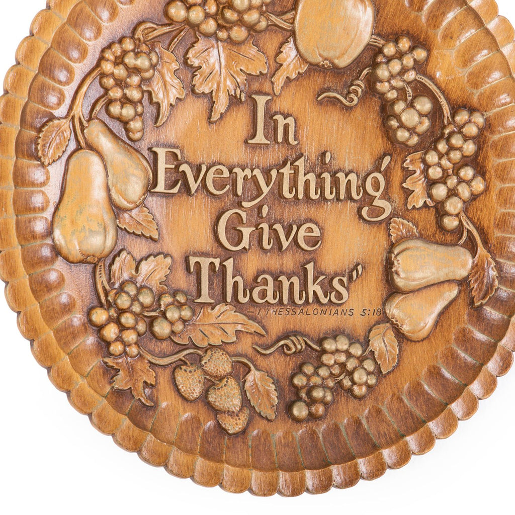 Give Thanks Wood Carved Wall Art