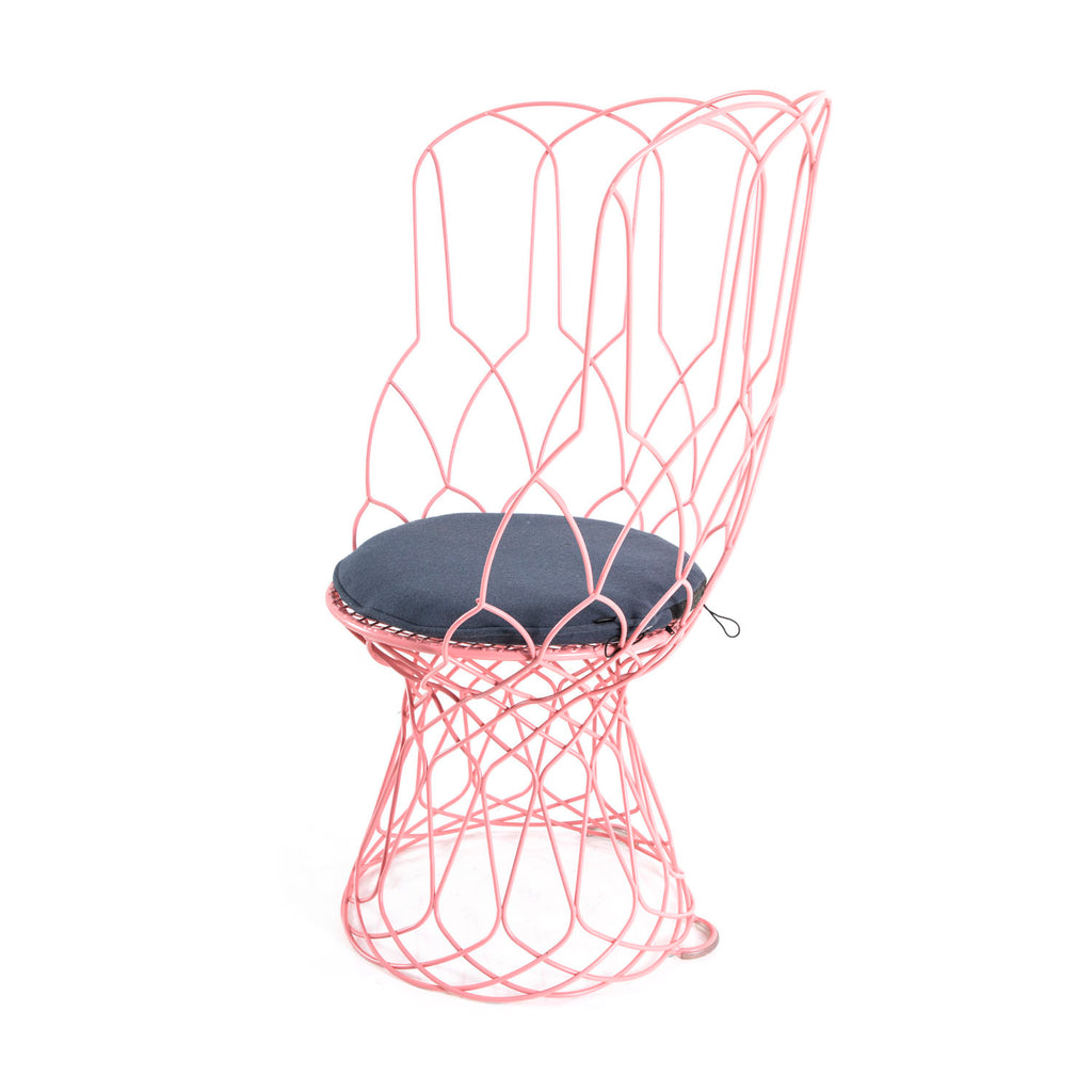 Pink Wire High Back Outdoor Chair