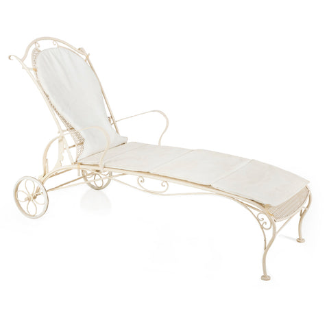 White Outdoor Chaise with Wheels