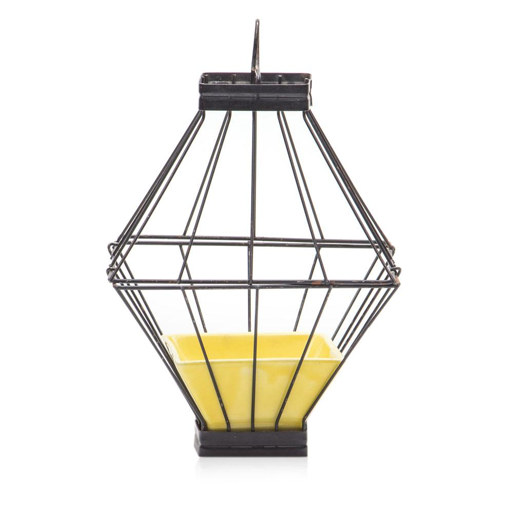 Black Caged Planter with Yellow Holder