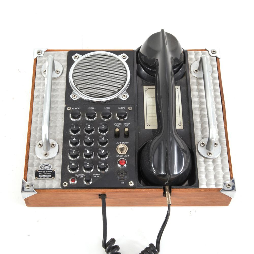 Black / Silver / Wood Vintage Speaker Telephone