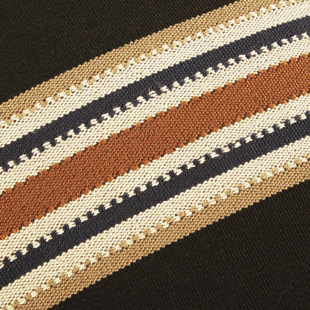 Black + Tan Striped Pillow