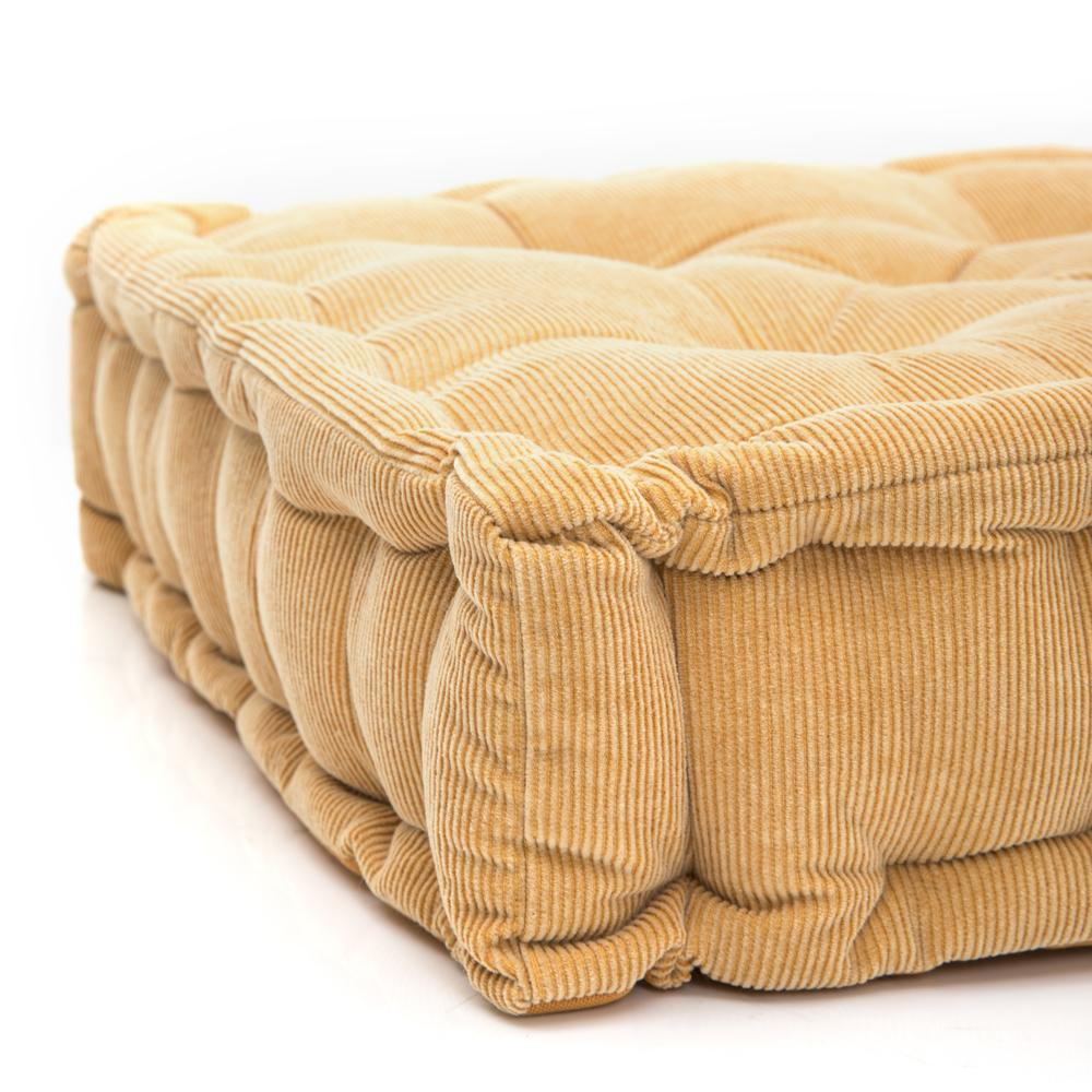 Butter Yellow Corduroy Square Floor Pillow