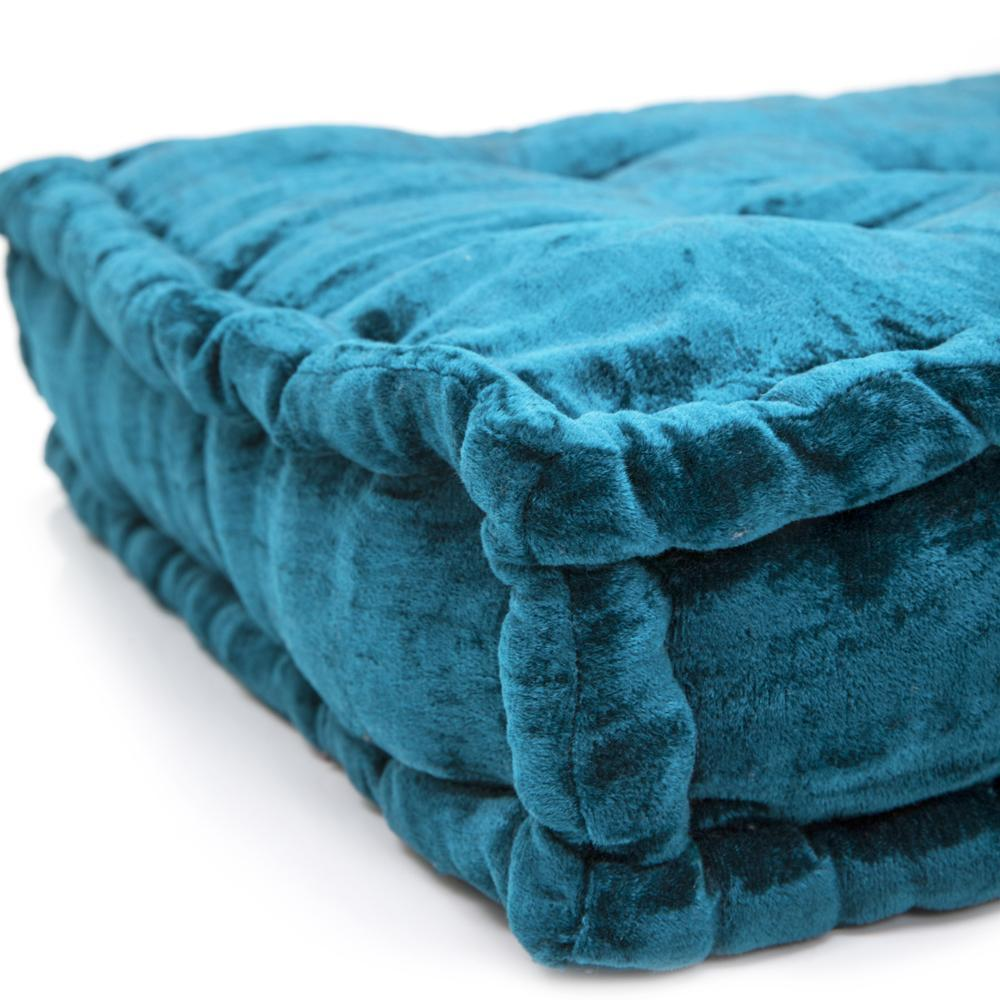 Peacock Crushed Velvet Square Floor Pillow