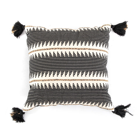 Black + White Patterned Southwestern Pillow