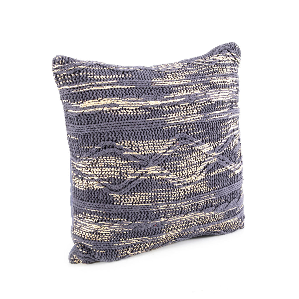 Blue Braid Knit Pillow