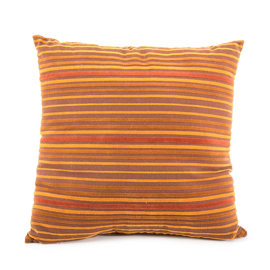 Brown + Rust Striped Pillow