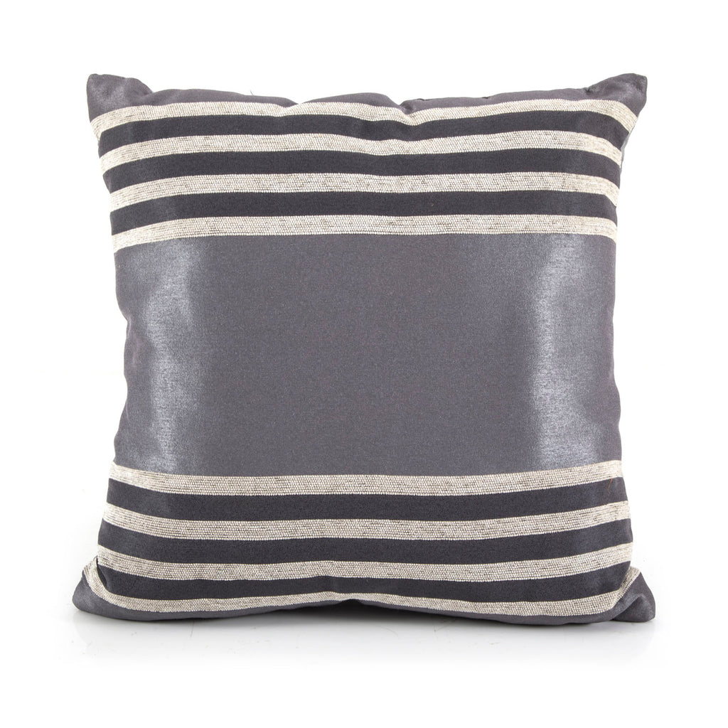 Silver + Natural Striped Pillow