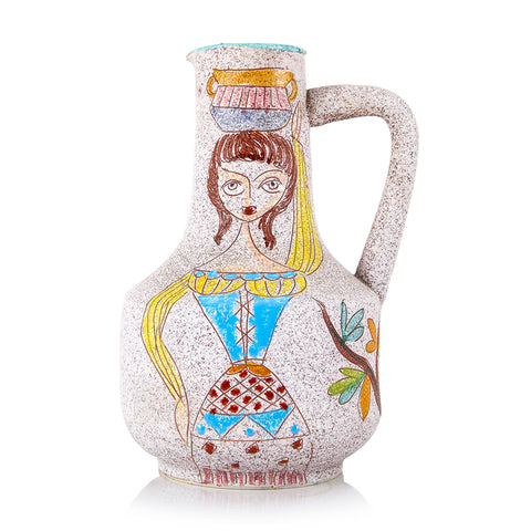 Multi BFA Painted Woman Ceramic Pitcher