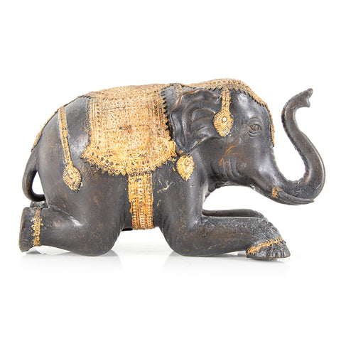 Black BFA Indian Elephant Figurine