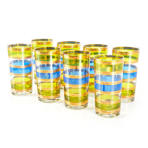 Colored Glass Set with Gold Bands