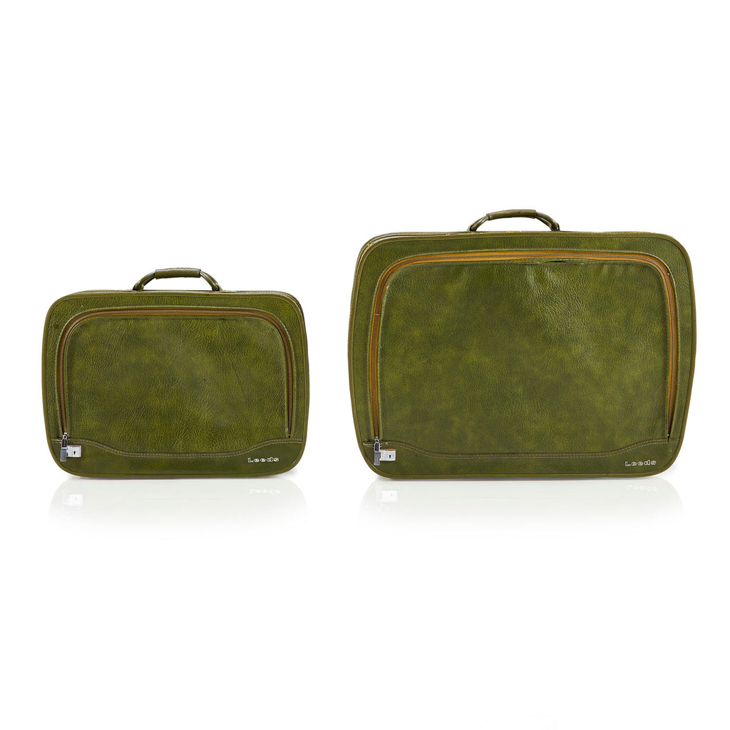 Green Leather Suitcase Pair