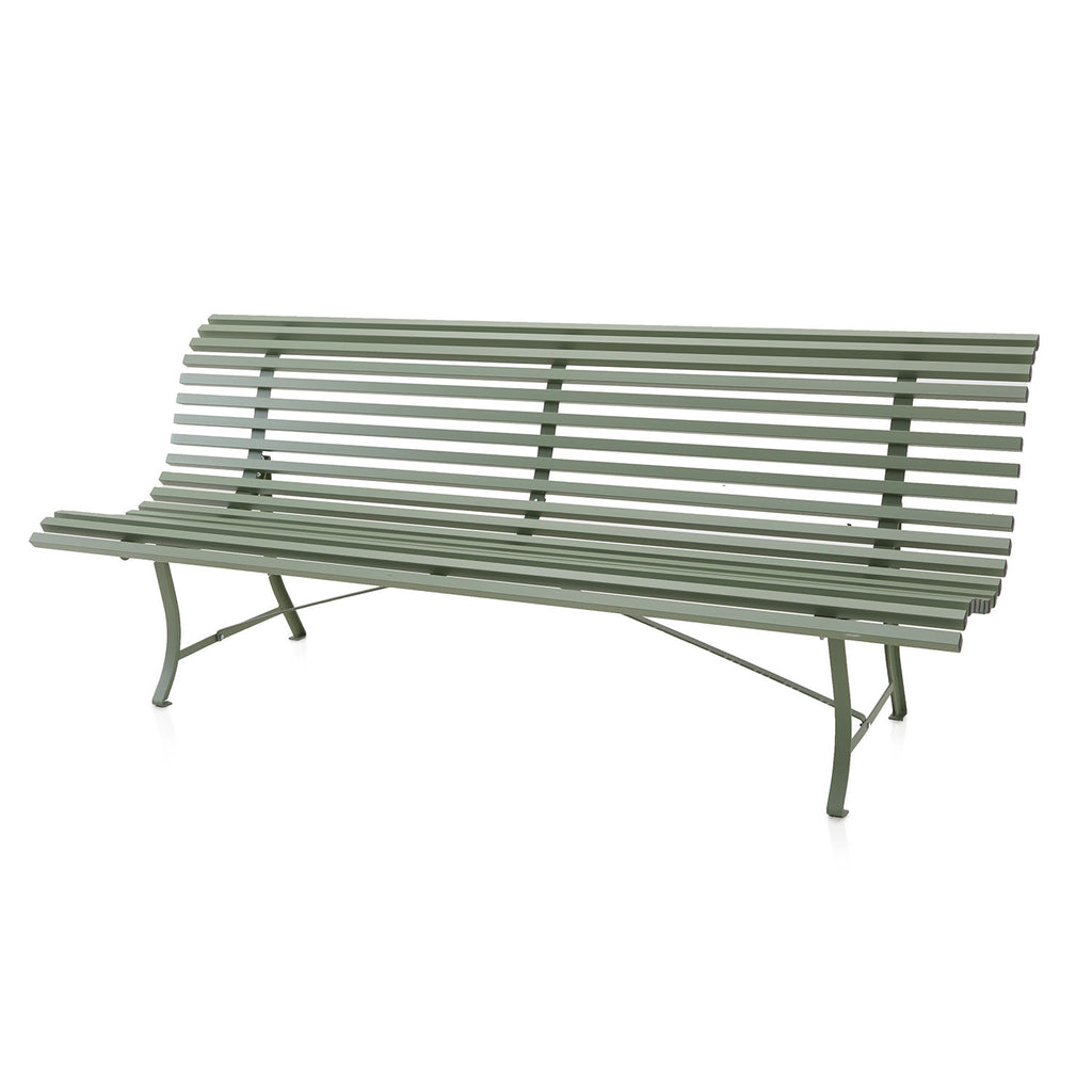 Green Curved Metal Park Bench