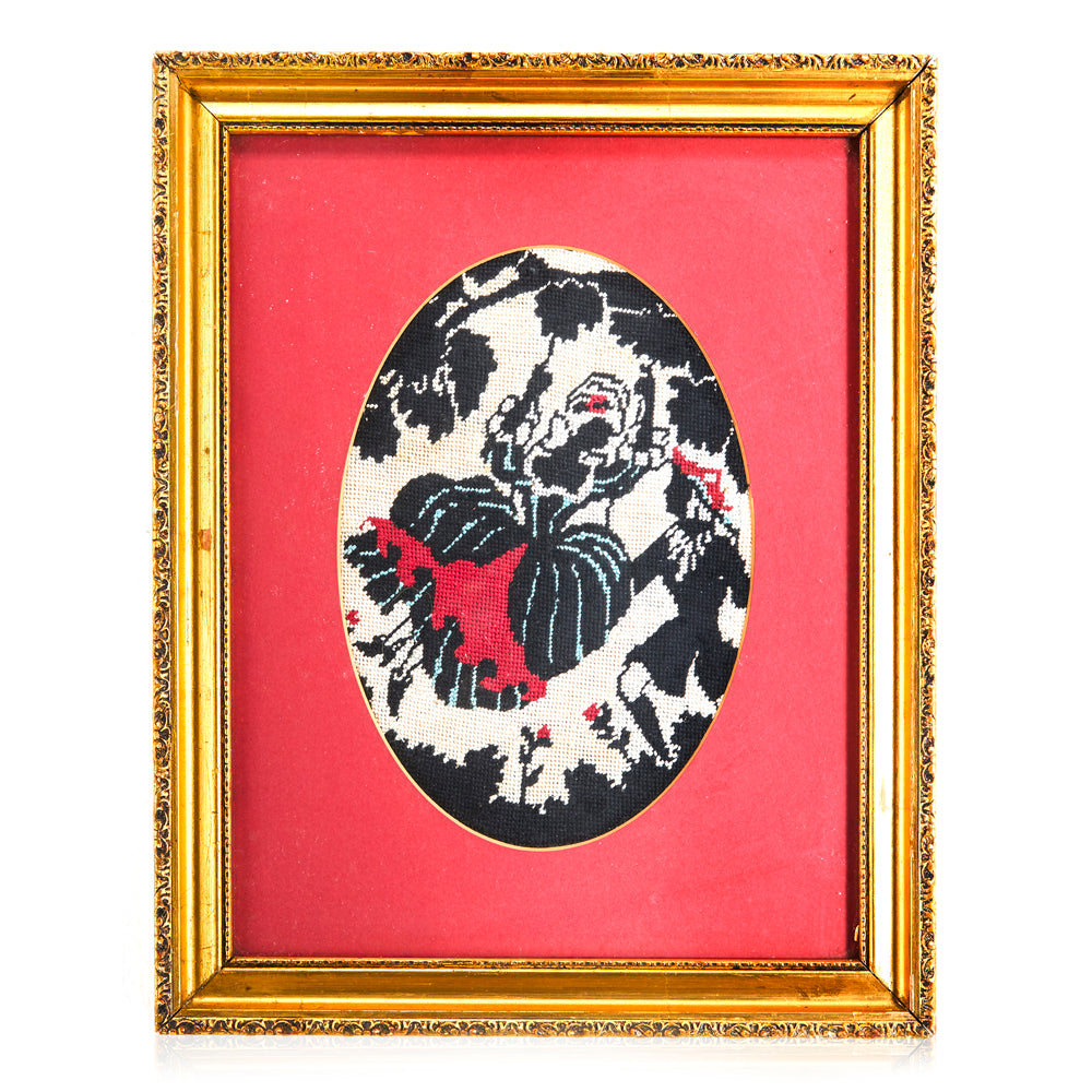 Needlepoint Red and Black Love Swing Artwork