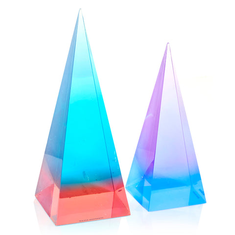 Set of 2 Colorful Lucite Pyramid Sculptures