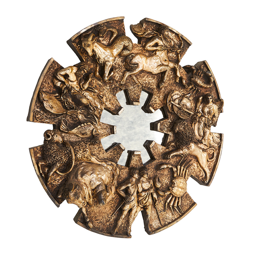 Brutalist Zodiac Round Carved Wall Art Sculpture
