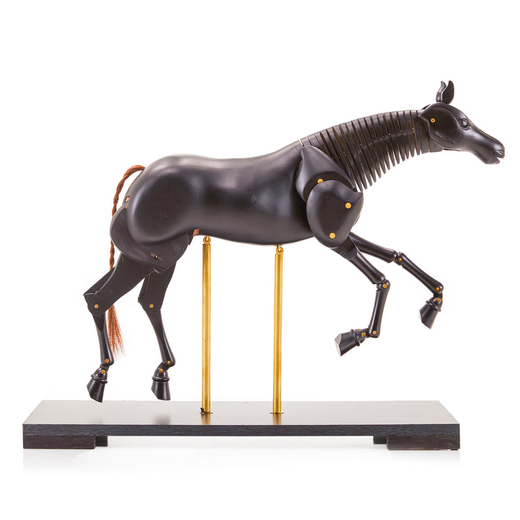 Dark Wood Articulated Horse Figurine