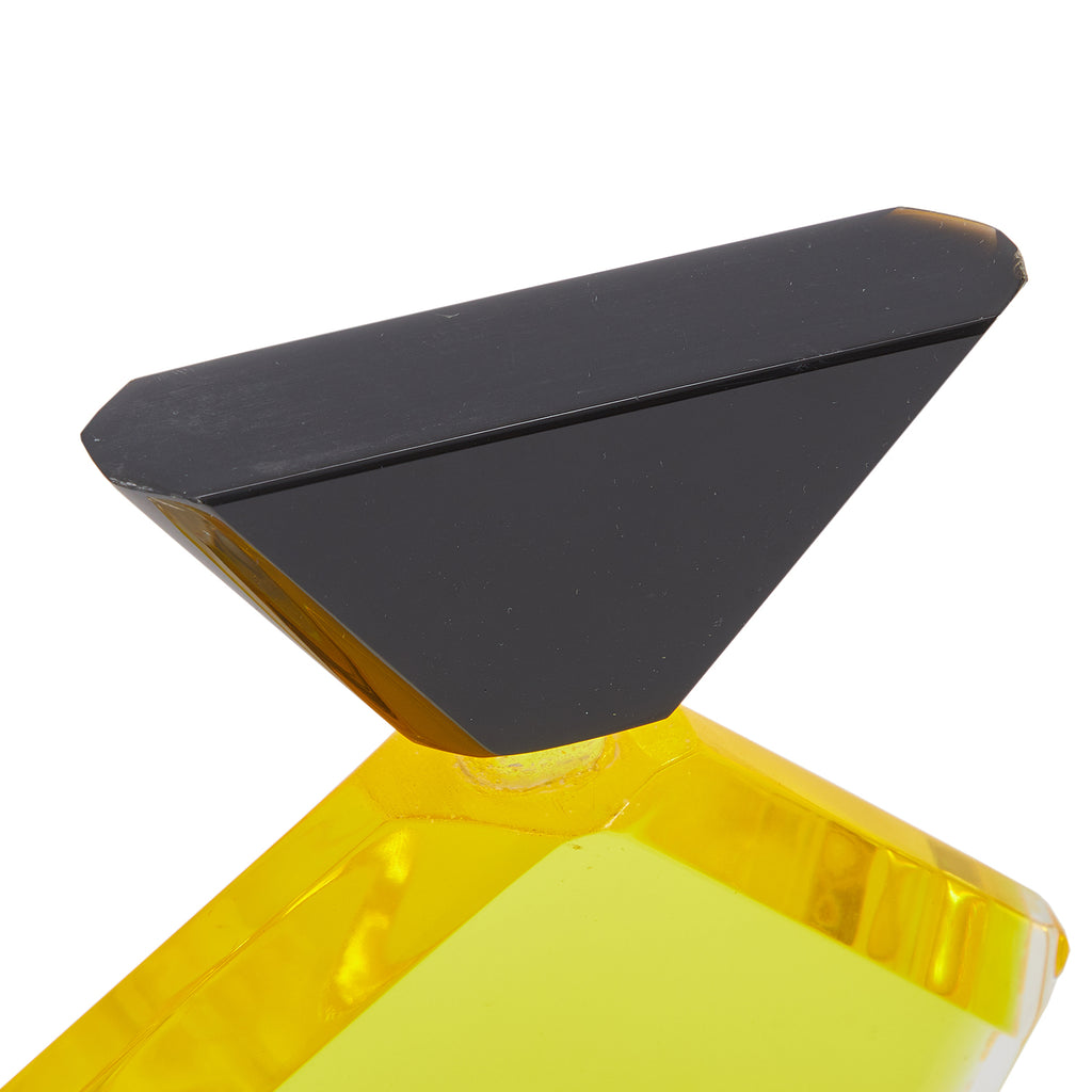 Yellow Pentagon Abstract Acrylic Sculpture