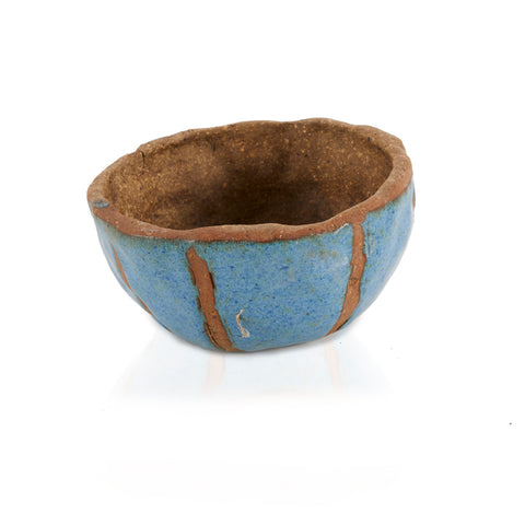 Blue BFA Glazed Clay Bowl