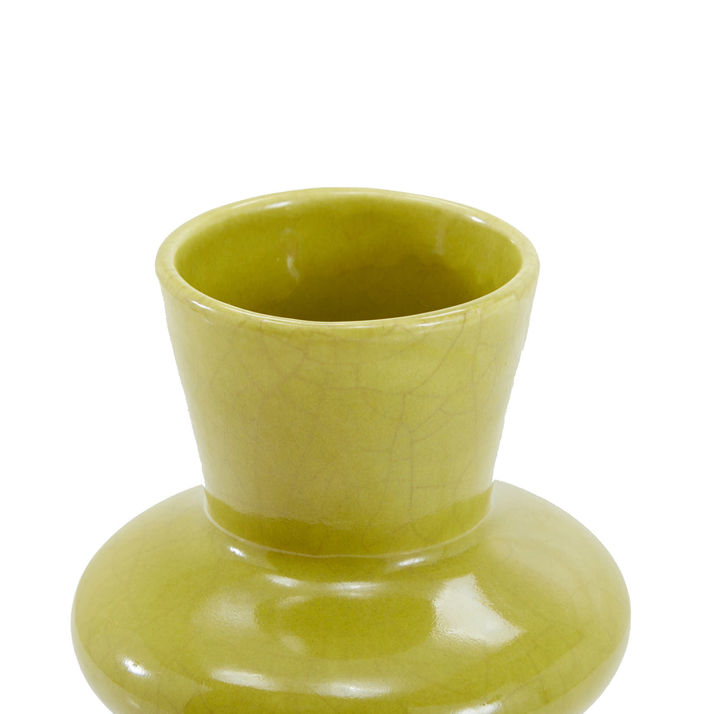 Green Yellow BFA Glazed Ceramic Vase