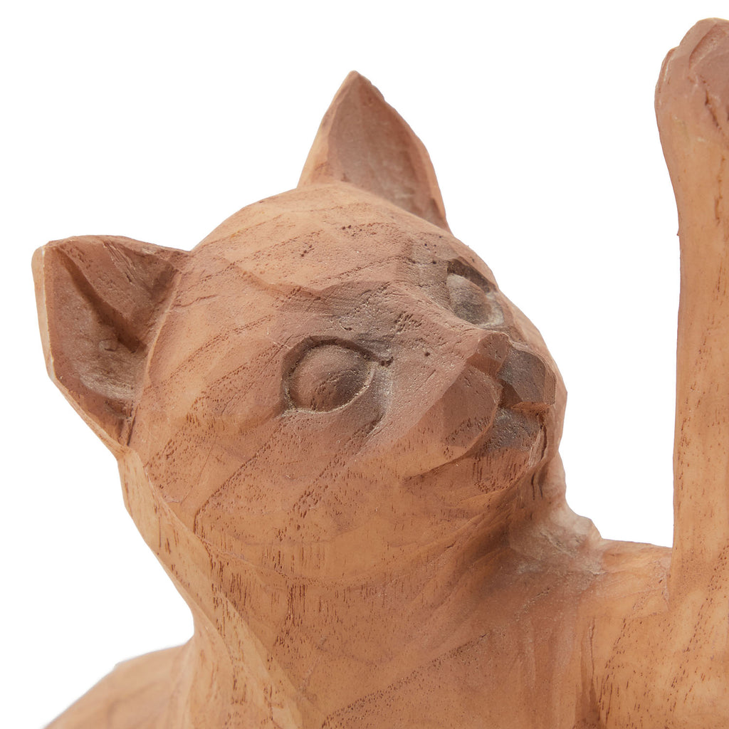 Brown BFA Wood Cat Sculpture