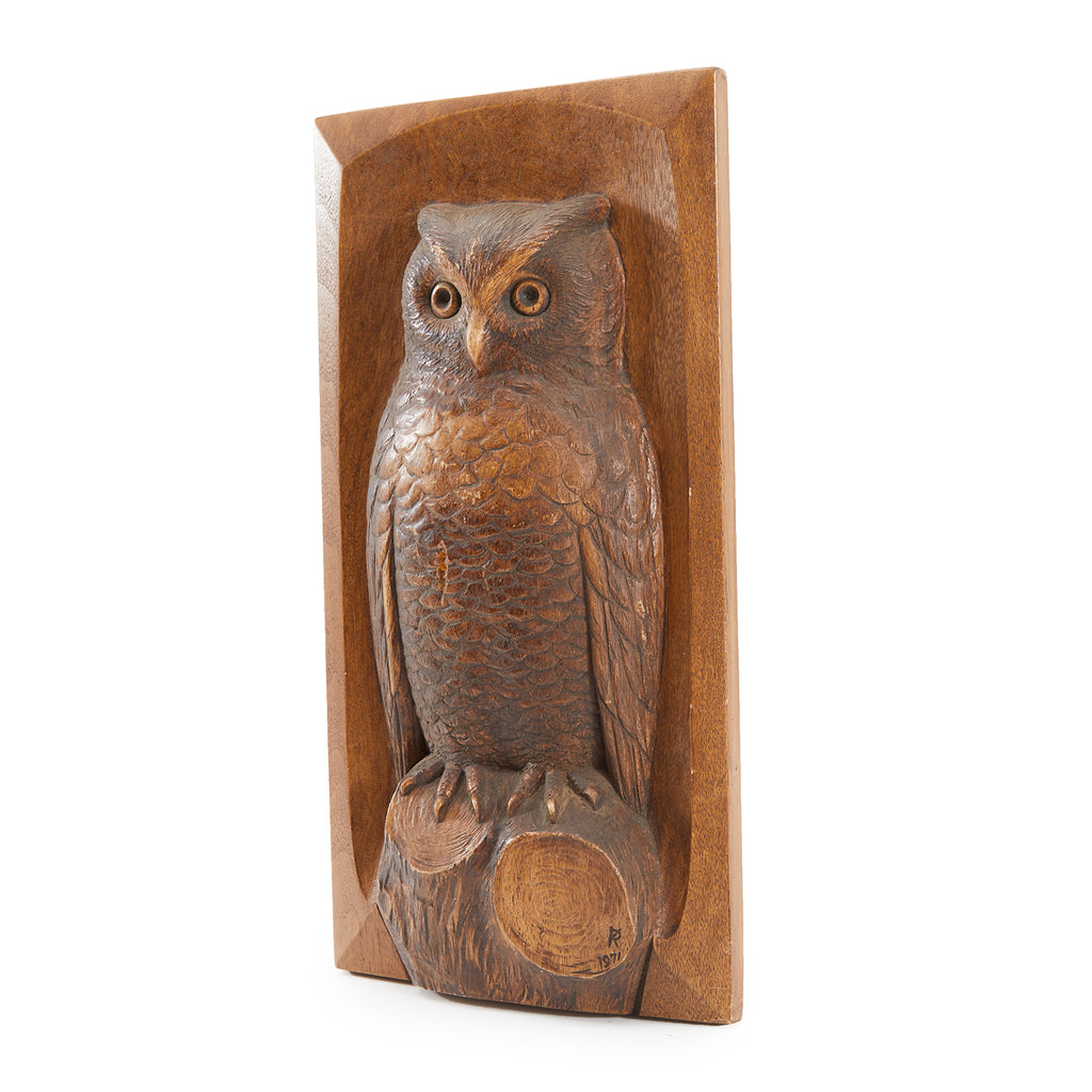 Carved Wood Owl Wall Art