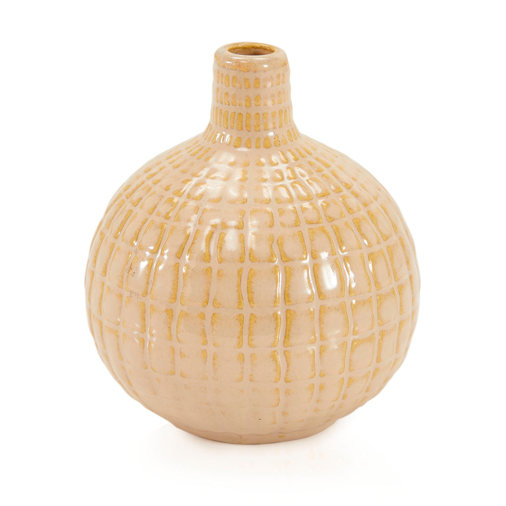 White BFA Tiled Bottleneck Vase
