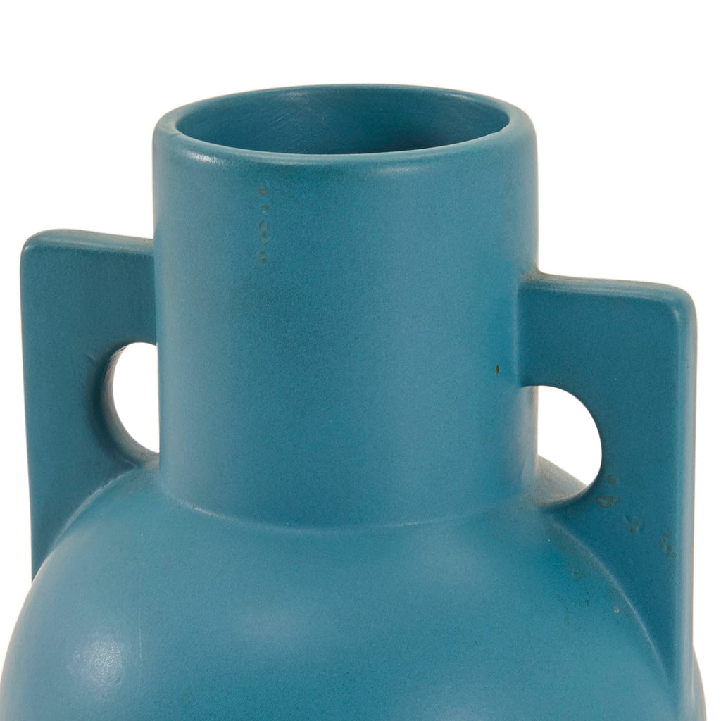 Blue BFA Matte Spherical Vase with Square Handles
