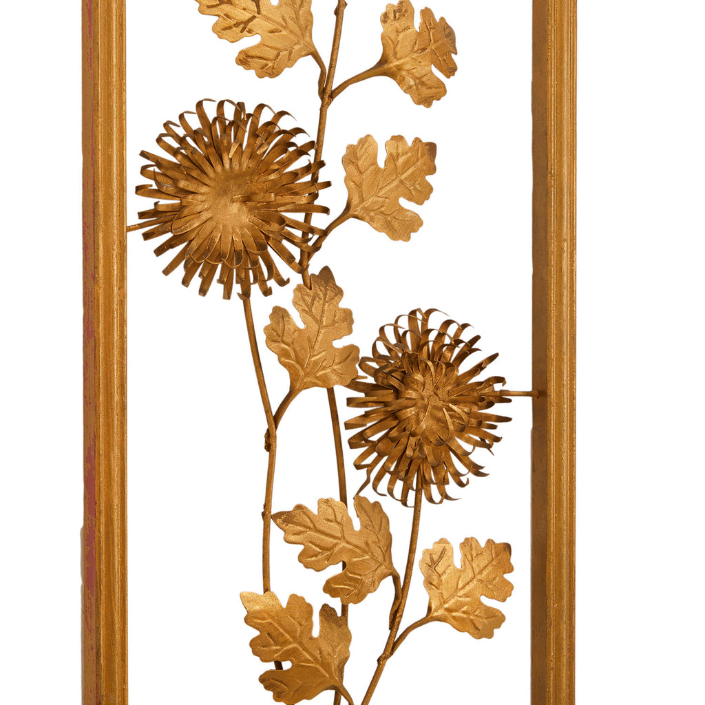 Framed Gold Foil Zinnia Flowers