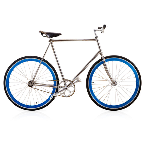 Blue and Silver Fixed-Gear Bicycle