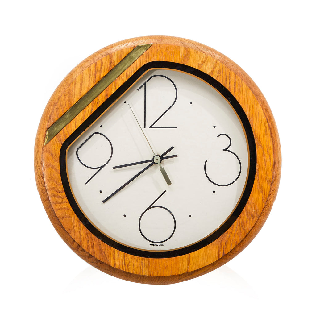 80s Wood Circle Wall Clock