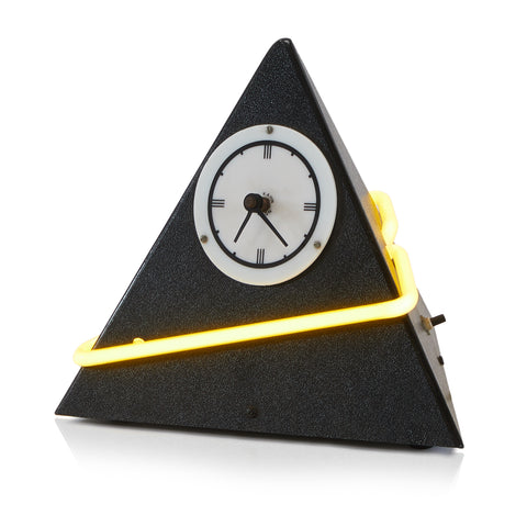 Black Neon Pyramid Clock
