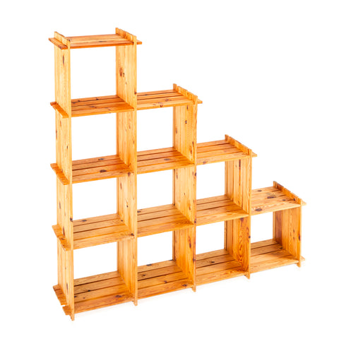 Wood Stacked Shelving Unit