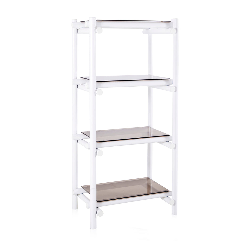 White Tube and Glass Shelving Unit