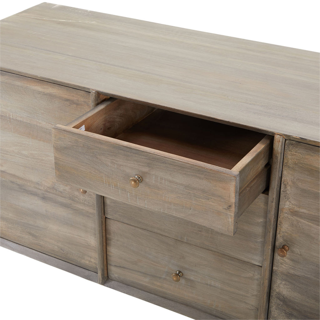 Contemporary Ash Grey Wood Credenza