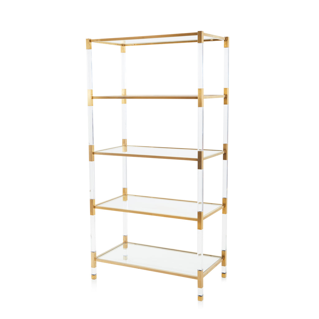 Lucite and Gold Etagere Shelving Unit
