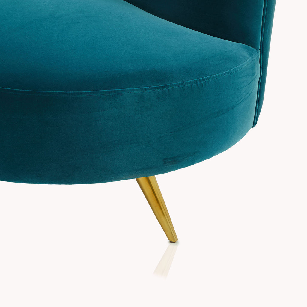 Copine Peacock Velvet Curved Chaise